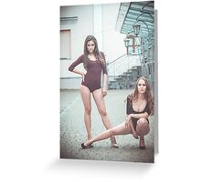 Fashion shoot of two young sexy striptease dancer Greeting Card