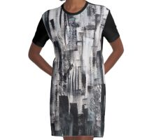 Black and White Abstract Graphic T-Shirt Dress