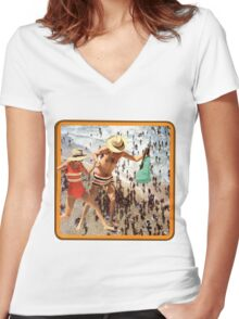 A Day at the Seaside'   Women's Fitted V-Neck T-Shirt