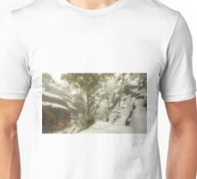 Trees and cliffs in mist Unisex T-Shirt