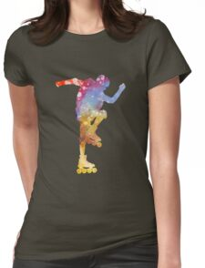 Man roller skater inline 02 in watercolor Womens Fitted T-Shirt