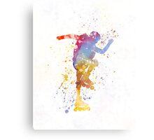 Man roller skater inline 02 in watercolor Metal Print