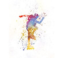 Man roller skater inline 02 in watercolor Photographic Print
