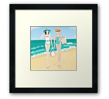 pinup girls at the beach Framed Print