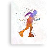 Man roller skater inline 03 in watercolor Metal Print