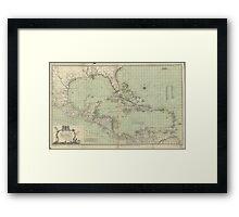 Vintage Map of The Caribbean (1774) Framed Print