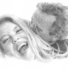 kissing couple drawing by Mike Theuer