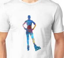 Woman in roller skates 02 in watercolor Unisex T-Shirt