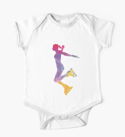 Woman in roller skates 03 in watercolor One Piece - Short Sleeve