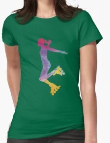 Woman in roller skates 03 in watercolor Womens Fitted T-Shirt