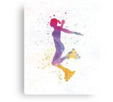 Woman in roller skates 03 in watercolor Metal Print
