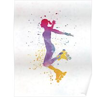 Woman in roller skates 03 in watercolor Poster