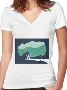 Cave Rain Women's Fitted V-Neck T-Shirt
