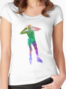 Woman in roller skates 04 in watercolor Women's Fitted Scoop T-Shirt