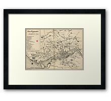 Vintage Map of Porto Portugal (1835) Framed Print