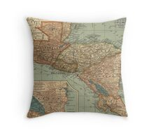 Vintage Map of Central America (1902) Throw Pillow