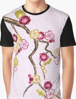 Hand-Painted Plum Blossoms Umenohana Washi Paper Graphic T-Shirt