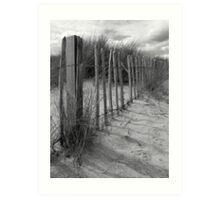 Black and White Beach Railings Art Print