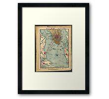 Vintage Charleston SC Civil War Map (1865) Framed Print