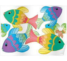 Colorful Fish on a White Background Poster
