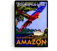 """AMAZON BRAZIL RIVER"" Vintage Cruise Print Canvas Print"