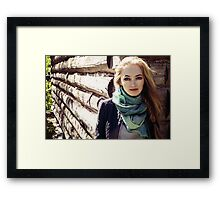 prefect skin and long fluffy curled hairstyle. Framed Print