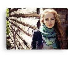 prefect skin and long fluffy curled hairstyle. Canvas Print