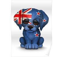 Cute Patriotic New Zealand Flag Puppy Dog Poster
