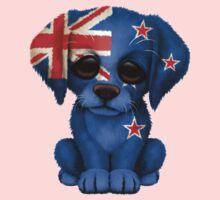 Cute Patriotic New Zealand Flag Puppy Dog Kids Tee