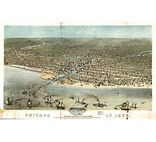 Vintage Pictorial Map of Chicago (1868) Photographic Print
