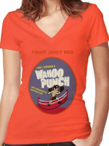 Wahoo Punch 2 Women's Fitted V-Neck T-Shirt