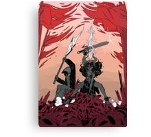 Warrior skull and girl Canvas Print