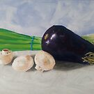 Eggplant, Mushrooms, and Chives by Pamela Burger