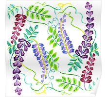 Hand-Painted Watercolor Japanese Wisteria Flowers Poster