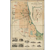 Vintage Map of Chicago Illinois (1889) Photographic Print
