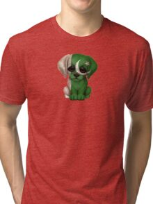 Cute Patriotic Pakistani Flag Puppy Dog Tri-blend T-Shirt