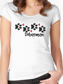 DOG PAWS LOVE DOBERMAN DOG PAW I LOVE MY DOG PET PETS PUPPY STICKER STICKERS DECAL DECALS Women's Fitted Scoop T-Shirt
