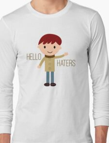 Cool Funny Vintage Cartoon Hipster Design - Hello Haters Long Sleeve T-Shirt