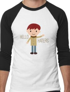 Cool Funny Vintage Cartoon Hipster Design - Hello Haters Men's Baseball ¾ T-Shirt