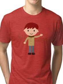 Cool Funny Vintage Cartoon Hipster Design - Hello Haters Tri-blend T-Shirt