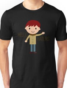 Cool Funny Vintage Cartoon Hipster Design - Hello Haters Unisex T-Shirt
