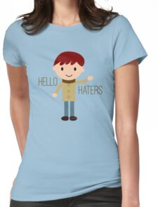 Cool Funny Vintage Cartoon Hipster Design - Hello Haters Womens Fitted T-Shirt