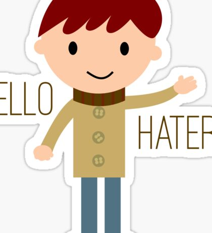 Cool Funny Vintage Cartoon Hipster Design - Hello Haters Sticker