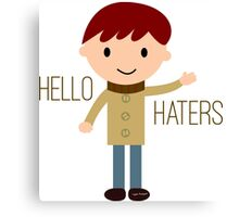 Cool Funny Vintage Cartoon Hipster Design - Hello Haters Canvas Print