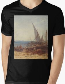 Boats and Ships on the beach Mens V-Neck T-Shirt