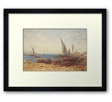 Boats and Ships on the beach Framed Print