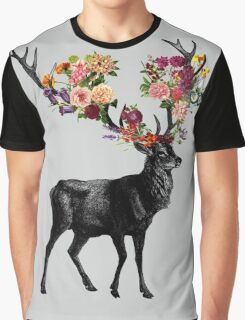 Spring Itself Deer Floral Graphic T-Shirt