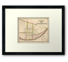 Vintage Map of Cincinnati Ohio (1841) Framed Print