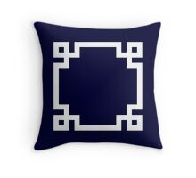 Greek Key Square White On Navy Blue Throw Pillow