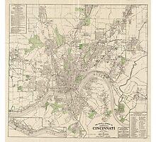 Vintage Map of Cincinnati Ohio (1915) Photographic Print